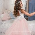 Weiß rosa Spitze Perlen Schmetterling bodenlangen ärmellosen Chiffon geschwollene kleine Königin Blumenmädchen Kleid