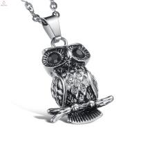 Neue Produkte Statement Coole Edelstahl Kristall Eule Anhänger Halskette