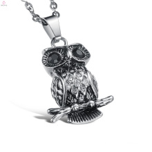 New Products Statement Cool Stainless Steel Crystal Owl Pendant Necklace