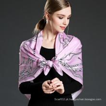 Lenço impresso de seda pura para mulheres rosa