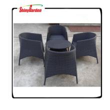 muebles tejidos de ratán de plástico al aire libre, muebles de jardín de mimbre plástico tejido