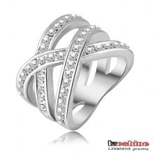 White Gold Plated Criss Cross Ring (Ri-HQ0120-b)