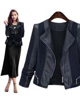 Plus Size XL-5XL Women Fashion Winter Patchwork Solid Black Coat