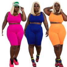 Wholesale plus size XL 2XL 3XL 4XL 5XL fat women clothing two piece set outfit yoga gym summer clothes two pieces
