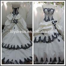 Lace Sweetheart Ball Gown Real Pictures Longueur de plancher sur mesure Robes formidables nuptiales BW281wedding en noir et blanc