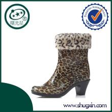 high heel PVC cowboy rain boots women