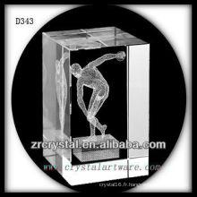 K9 3D Laser le coup mis à l'intérieur du rectangle de cristal