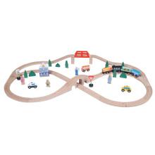 Набор деревянных железнодорожных поездов 55pcs для детей