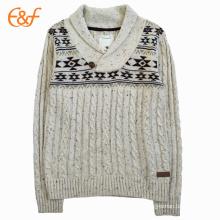 Chandail de tricot de câble de collier de châle des hommes avec des corrections de coude