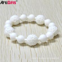 Подгонянный ручной мода белый силиконовый браслет из бисера для девочки