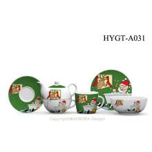Decoración de Navidad FDA Aprobado porcelana 3PCS vajilla de forma redonda conjunto con diseño de Navidad