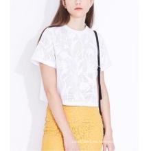 Camiseta elegante de verano con cuello redondo y planta de Jacquard para mujer