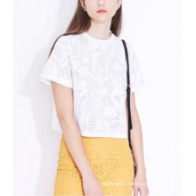 Summer Elegant Pure Jacquard Plant Short Round Neck Ladies T-Shirt