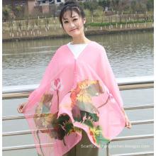 Écharpe imprimée en mousseline de soie de style nouveau 2016 avec des fleurs