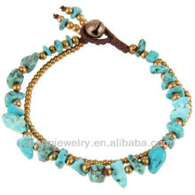 Natural Turquoise Stone with Brass Beads Hand Crafted Bracelet Vners SB-0027