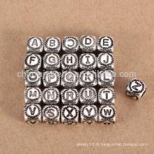 Sef085 DIY jóias descobertas Atacado 925 prata esterlina 26 letras bead charme grande furo para pulseira / colar