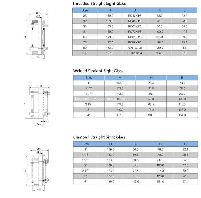 sanitary clamped welded threaded straight sight glass