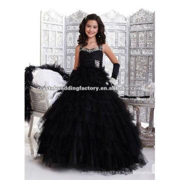 El envío libre 2013 rizó el vestido por encargo con gradas del vestido de flor del desfile del negro del vestido de bola del halter CWFaf4530