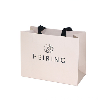 Custom Pink Embossing Logo Paper Bag dengan Ribbon