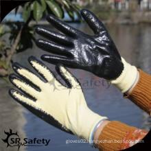 SRSAFETY 13 gauge smooth black nitrile cut resistant aramid anti cutting gloves