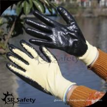 SRSAFETY 13 калибра гладких черных нитриловых режущих арамидных антирежущих перчаток