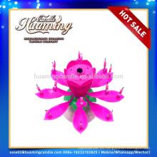 2014 flor de loto música fuegos artificiales vela de torta de cumpleaños con alta calidad y precio más barato