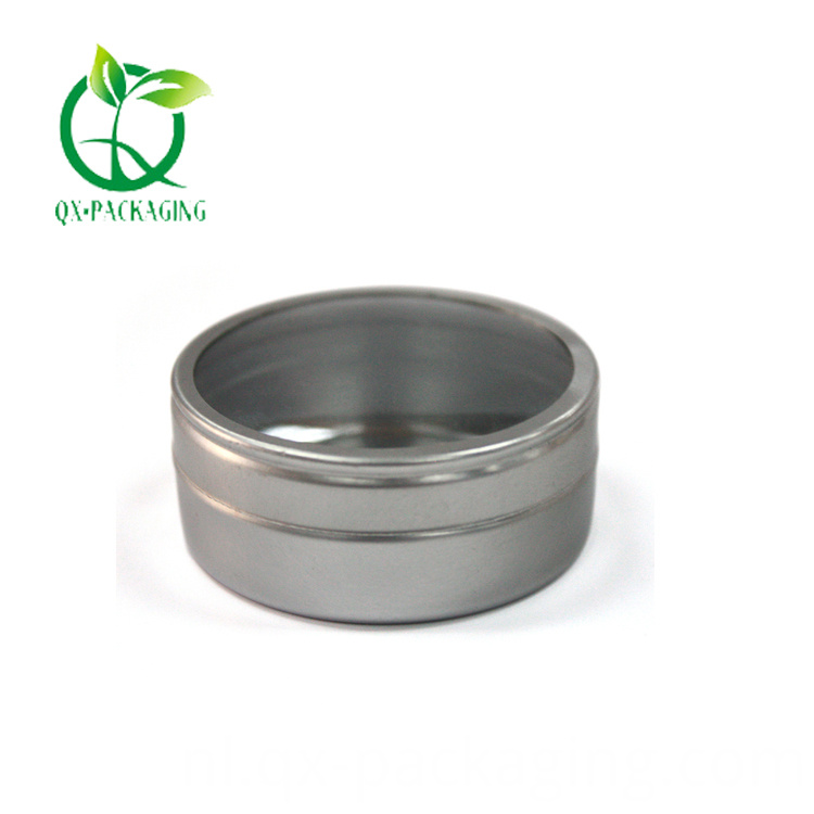 Silver round tin with window