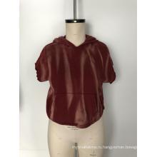Вельветовая блузка с коротким рукавом