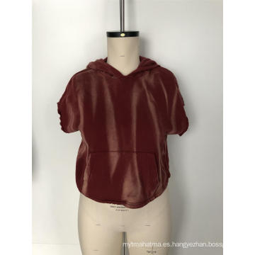 Blusa de manga corta de pana