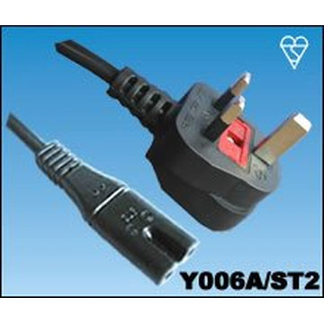 UK mains lead figure of eight type moulded plug fitted 3 5 amp fuse