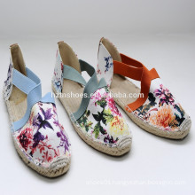 2015 factory direct Wholesale new style high quality jute printing shoes espadrille girl shoes