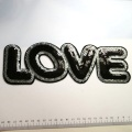 Love letter patches black Sequin Embroidery