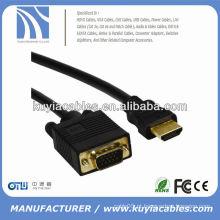 Ouro VGA chapeado ao cabo do cabo de HDMI ao preto masculino