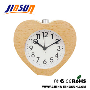 Christmas Gift Heart Shape Natural Wood Alarm Clock