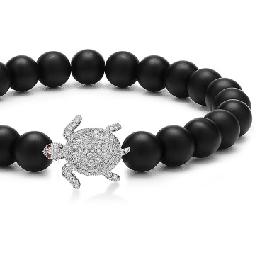 Natural Stone Tortoise Charms Matte Agate Bead Bracelet