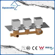 Cuarto de baño ocultos termostática Ducha Válvula Mezclador Tap Square 3 Dial 3 Way