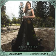 Nuevo diseño más el vestido de noche atractivo del cuello de la ilusión de los cequis del vestido de noche del tamaño imge