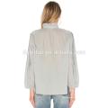 Las últimas mangas de la moda diseña el tamaño grande ven a través de la blusa del algodón de la señora