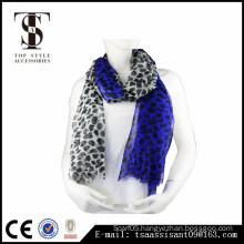 Animal print scarf blue leopard print polyester scarf