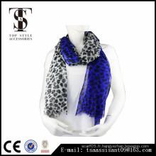 Écharpe imprimée pour animaux écharpe en polyester bleu imprimé léopard
