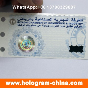 Segurança Anti-Fake Hot Stamped Hologram Sticker