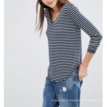 Moda personalizada al por mayor Supersoft Curve Hem Stripe mujeres Top