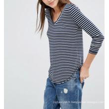 Mode personnalisé en gros Supersoft Curve Hem Stripe femmes Top