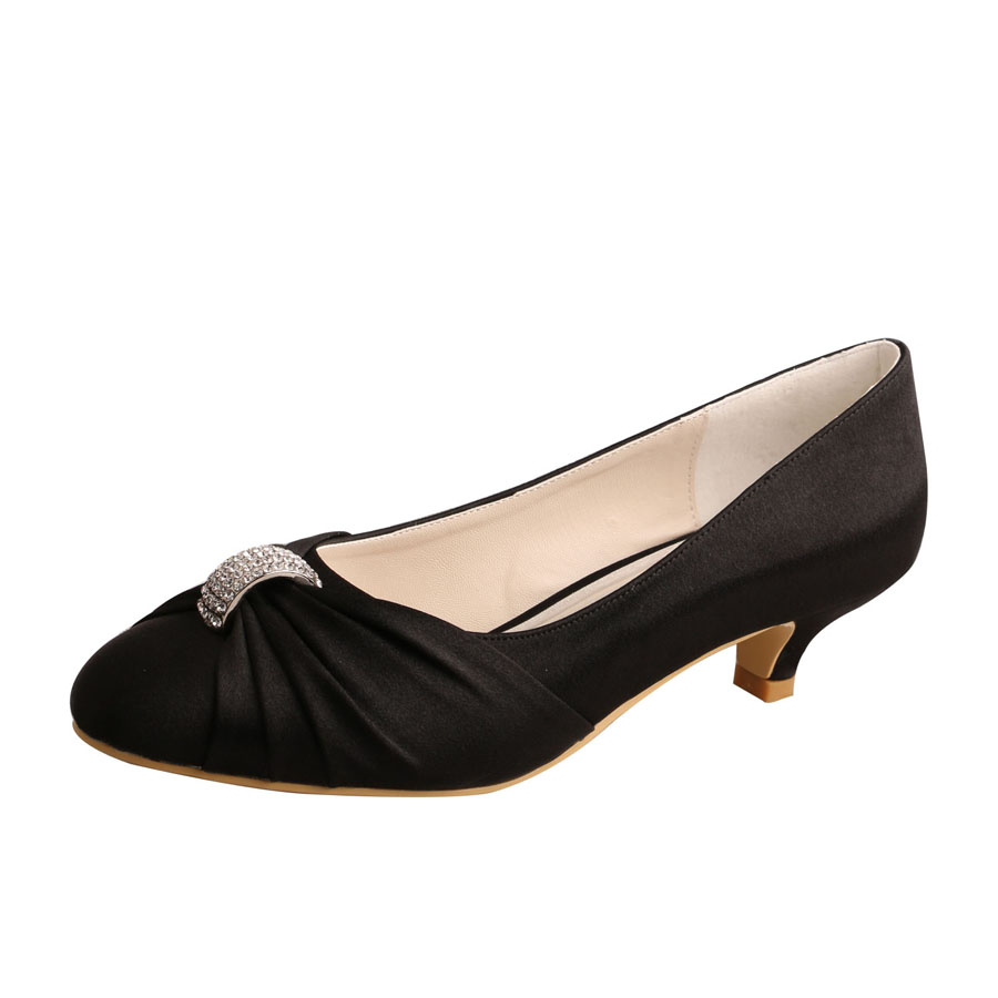 Wedopus Black Satin Shoes Wedding Low Heel