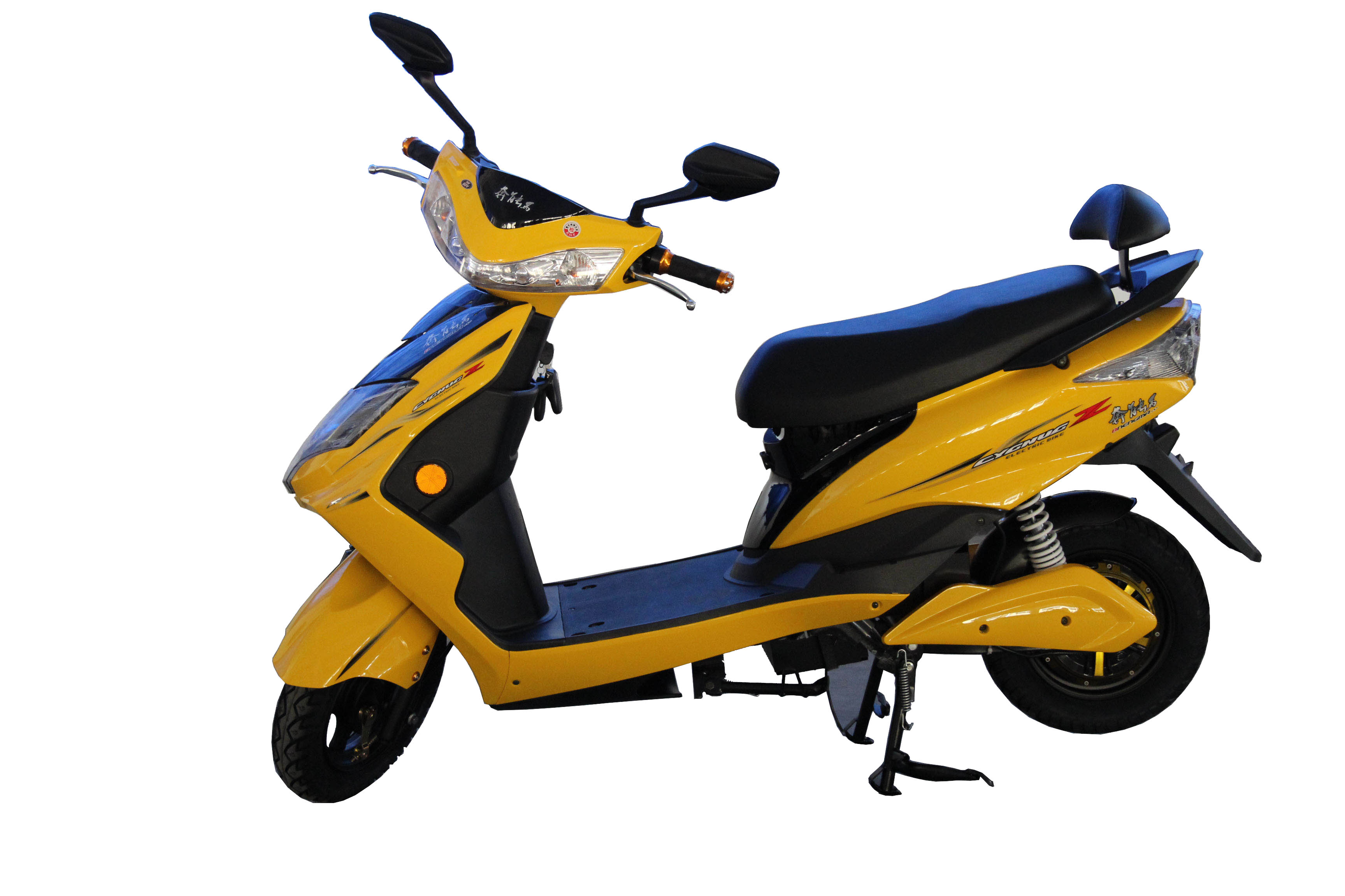 Fast yellow scooter to young people