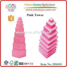 Billige gute Qualität hölzerne Montessori Materialien rosa Turm