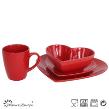 16PCS Dinner Set Solid Red en conception de forme de coeur