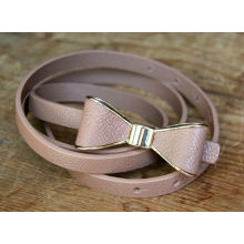 Hot Tan Brown Genuine Leather Bow Belt Medium Designer Gold XS Dress Cute Womens