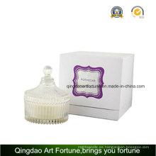 Vela llena del tarro de caramelo de cristal para la promoción casera de la boda de la decoración