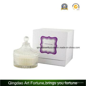 Luxe parfumée bougie de fiole de verre dans une boîte cadeau